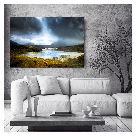 Extra large wall art  Modern rustic art  by TheSkyeBlueGallery
