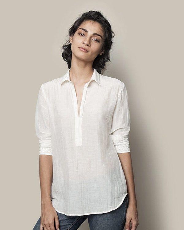 NICOBAR Cotton Silk Shirt - Ivory