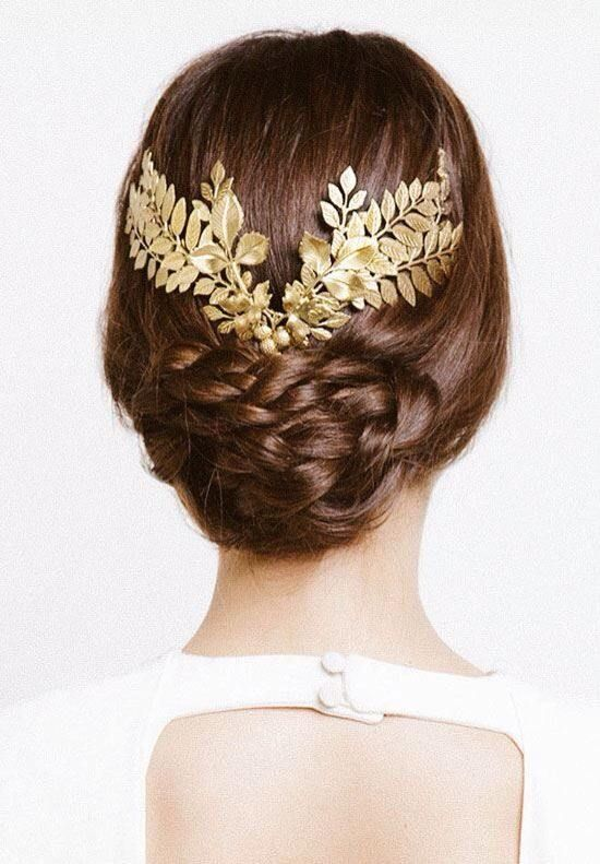 wedding updo hairstyle with gold leafs hair crown
