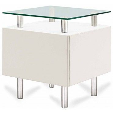 Captivating Modern White Square End Table With Storage Molino
