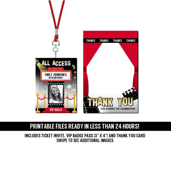 HOLLYWOOD RED CARPET EVENT TICKET INVITATIONS DELUXE PARTY PACKAGE - Printable PDF Files INCLUDES FREE THANK YOU CARD and ALL ACCESS VIP GUEST pass badge insert for lanyards! These tickets invites are sure to impress your guests! Perfect for your next birthday party, graduation, or any