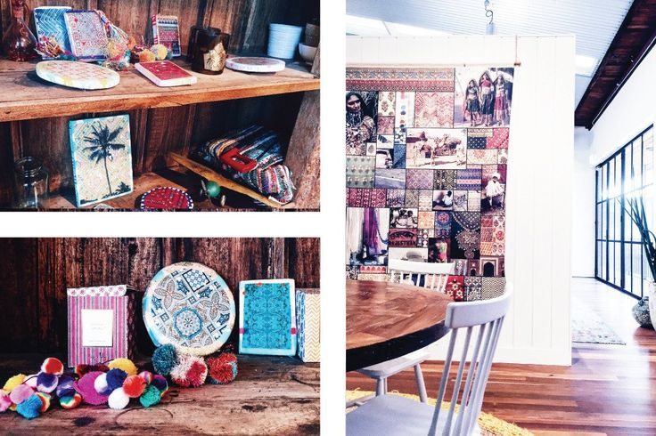 Inside the bohemian design studio of Tigerlily Swimwear | Beautiful design studio office that is filled with boho-inspired objects collection from their worldly travels | Workspaces to Inspire | Click link to read design blog