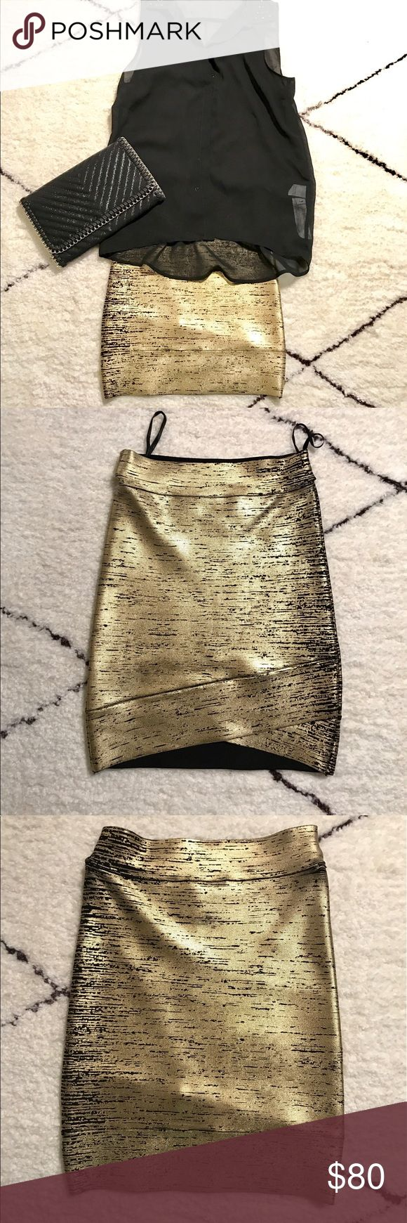 ✨brand 🆕✨ BCBG metallic gold bodycon skirt Super sexy and form fitting! Never worn, no defects. Guaranteed to catch peoples' attention. :) (Note: top and clutch can be purchased in a bundle or through my separate listings!) BCBGMaxAzria Skirts Mini