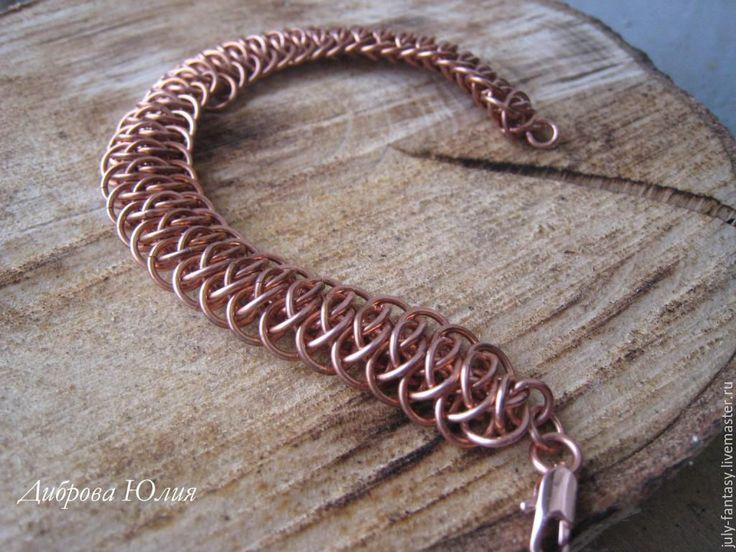 """Купить Медный браслет """"Гюрза"""". Кольчужное плетение - коричневый, медный, медный браслет, женский браслет"""