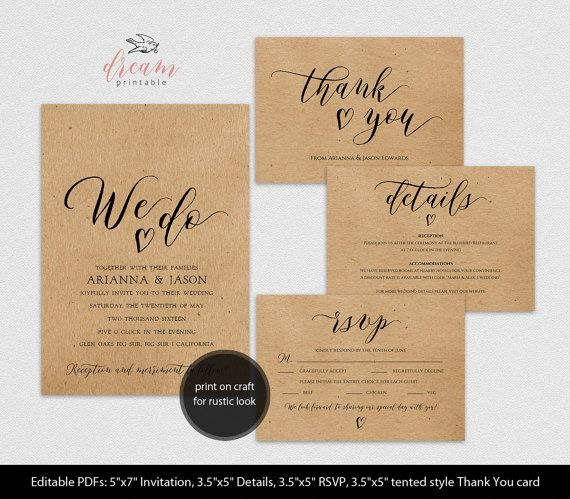 Instant Download Editable Pdf Template Set 5x7 We Do Invitation 3 5x5 Details 3 5x5 Rsvp 3 5x5 Tente Printable Wedding Sign Wedding Printables Invitations
