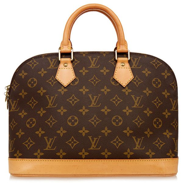 Louis Vuitton Vintage Alma Pm Monogram Bag ($960) ❤ liked on Polyvore featuring bags, handbags, purses, bolsas, carteras, brown, vintage leather handbags, genuine leather handbags, hand bags and leather hand bags