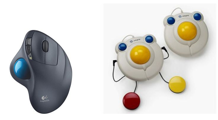 -Trackball Mouse Emulators - A trackball can help students with limited arm mobility use a computer provided they have some hand/finger mobility. - A trackball allows the mouse pointer to be moved by the rolling of a ball held by a socket containing sensors to detect a rotation on two axes placed in the center of the mouse.