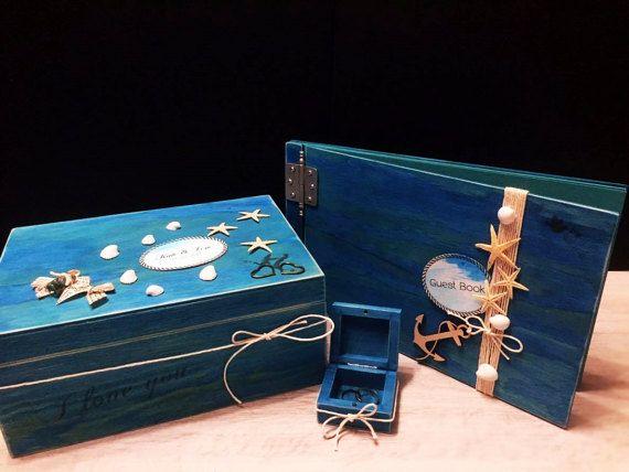 blue turquoise wedding beach cards money box by VictoriaWeddingArt