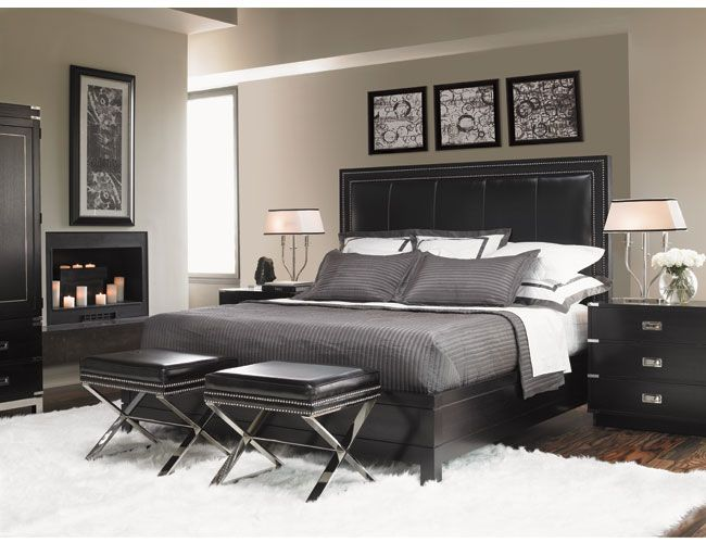 grey pinstripe sheets for contemporary bedroom with shag rug