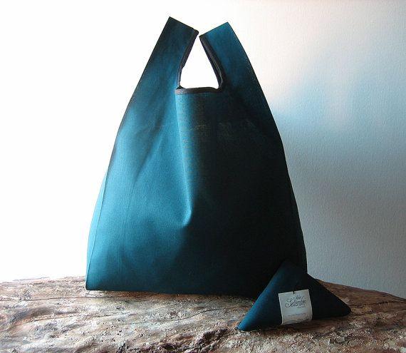 man lunch bag / minimal men tote bag / teal cotton shopper / elegant woman bag / reusable grocery bag handmade with petrol blue cotton