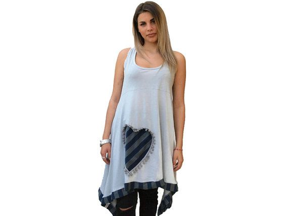 Gray loose open back top / Organic Cotton tunic / by PepperFashion