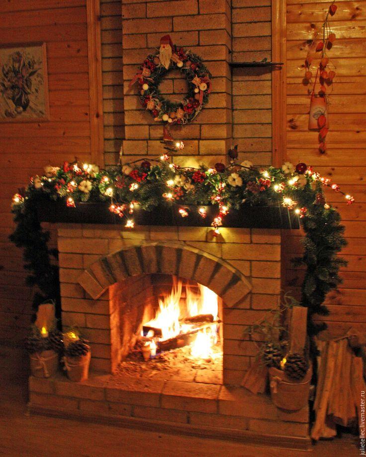 Купить Оформление гостиной - зеленый, гирлянда, украшение камина, новогодний интерьер, украшение дома, Декор