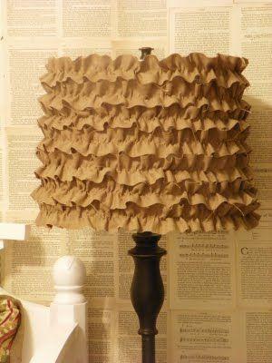 diy- ruffle lamp shade (glue ruffle ribbon)