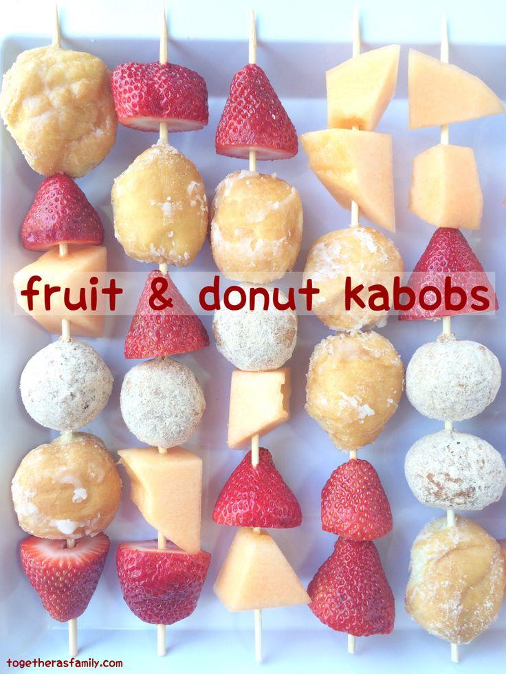 Fruit & Donut Kabobs- fun breakfast treat or yummy after school snack! www.togetherasfamily.com