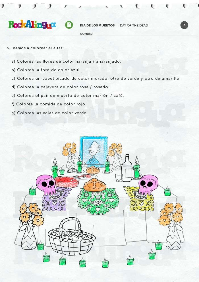 Day Of The Dead Worksheet Rockalingua Day Of The Dead Colors Worksheets Color Worksheets