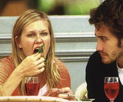 """Jake Gyllenhaal watches ex-girlfriend Kirsten Dunst eat - from """"15 of Jake Gyllenhaal's Relationships"""""""