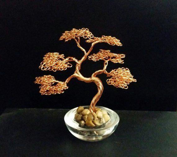 Small Curved Copper Wire Bonsai Tree Art Sculpture In Glass Etsy Wire Tree Sculpture Wire Art Tree Sculpture