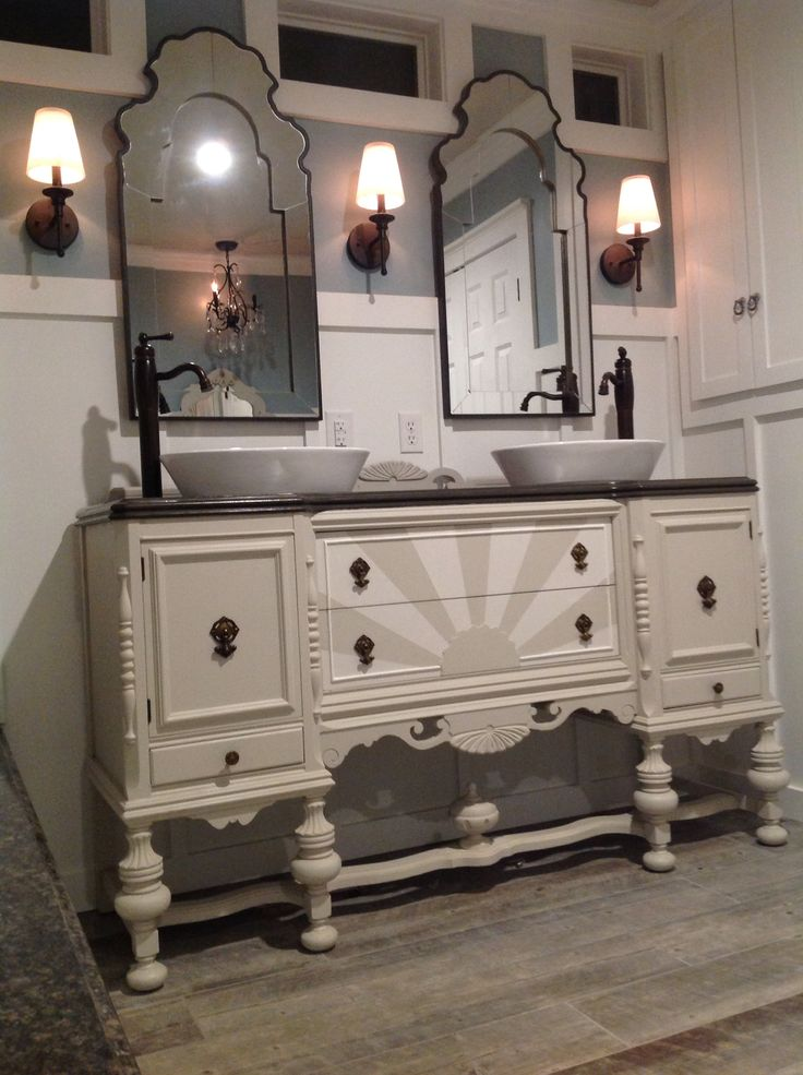 our antique sideboard buffet repurposed into a bathroom vanity by my fabulous hubby