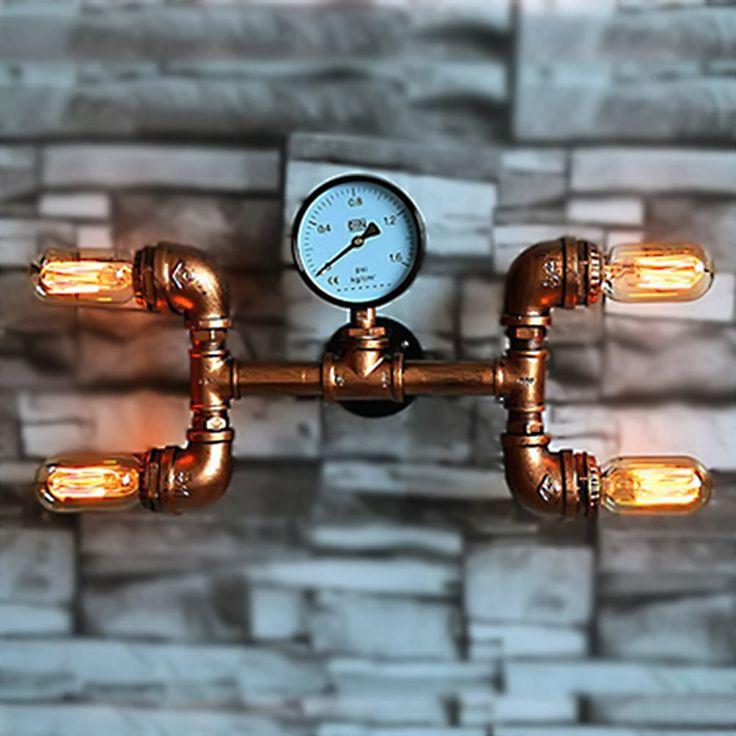 Américain L'industrie Mur lampes conduite D'eau Vintage Fer Loft Applique Murale Pour Balcon Chambre Cuisine Décoration Lamparas de pared(China (Mainland))