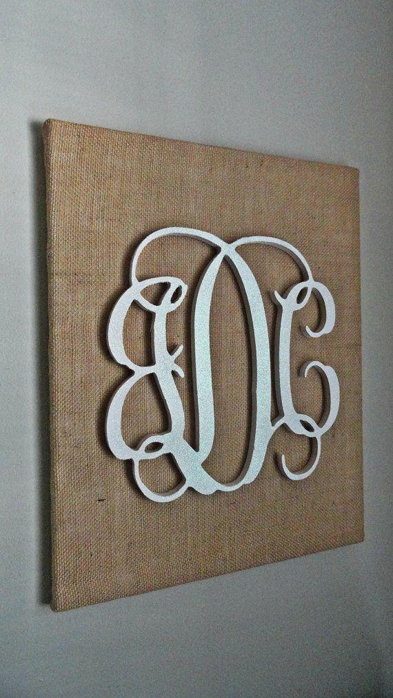 Glittery White Wooden Script Monogram on Burlap Canvas, Glitter Monogram, 3 Letter Monogram, Monogram on Burlap, Monogram Christmas Decor on Etsy, $65.00