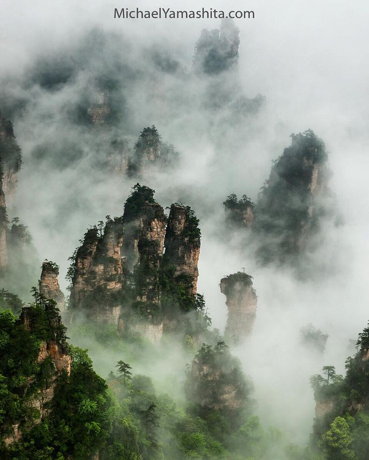 """Photograph by Michael Yamashita @yamashitaphoto - Layering mountains in the midst, classic Chinese landscape scenery from Wulingyuan. I love how the fog…"""