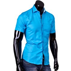 Рубашка Louis Fabel приталенная цвет бирюзовый однотонный
