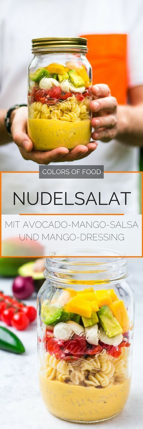 Pasta salad with avocado and mango salsa and mango dressing   – Essen Trinken