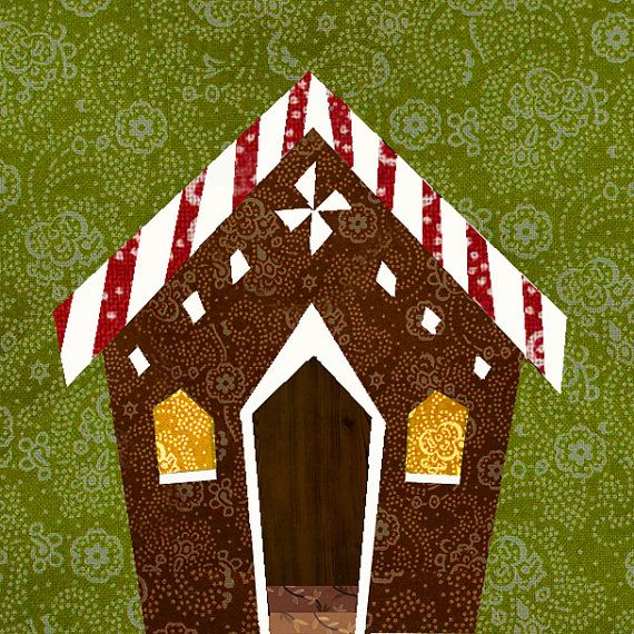 Gingerbread House Quilt Pattern Free : Gingerbread house paper pieced quilt block pattern by BubbleStitch, USD 2.90 Quilts Pinterest ...