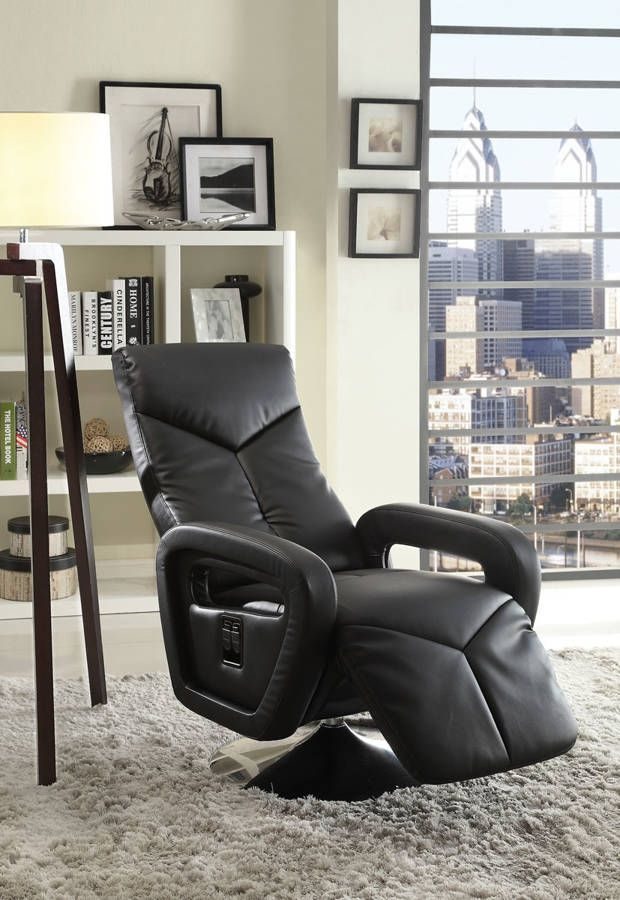 Diem Contemporary Black Bonded Leather Swivel Reclining Chair