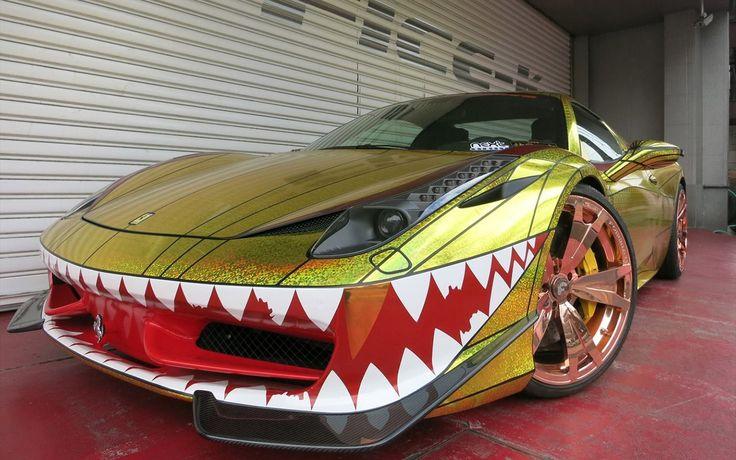 Is your Ferrari 458 Spider a little too subtle? Ask Office-K for the Golden Shark… #car #cars #ferrari #458spider #ferrari458 #spider #wrapped #wrap #modified #wheels #alloys #pictures #images #veepix