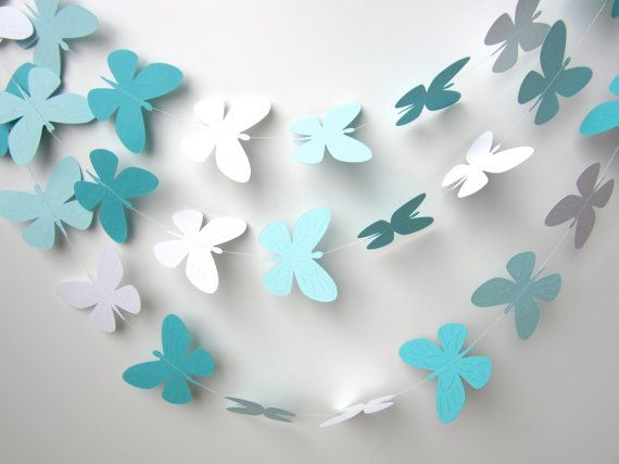 10 Foot Paper butterfly garland, Tiffany blue, Mint wedding garland, Photo prop, Nursery decor on Etsy, $15.00