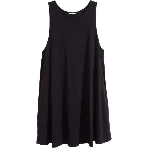 H&M A-line dress ($18) ❤ liked on Polyvore featuring dresses, black, h&m, tops, vestidos, rayon dress, sleeveless jersey, sleeveless dress, sleeveless a line dress and a line dress