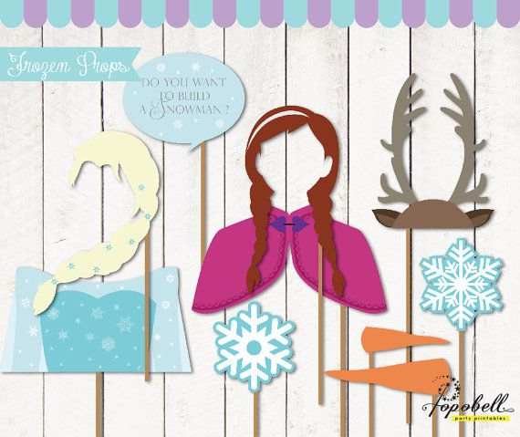 Frozen Props for Frozen Birthday Party. Instant Download Frozen Printables. DIY Frozen photobooth props. Non-Personalized. in 9 designs.