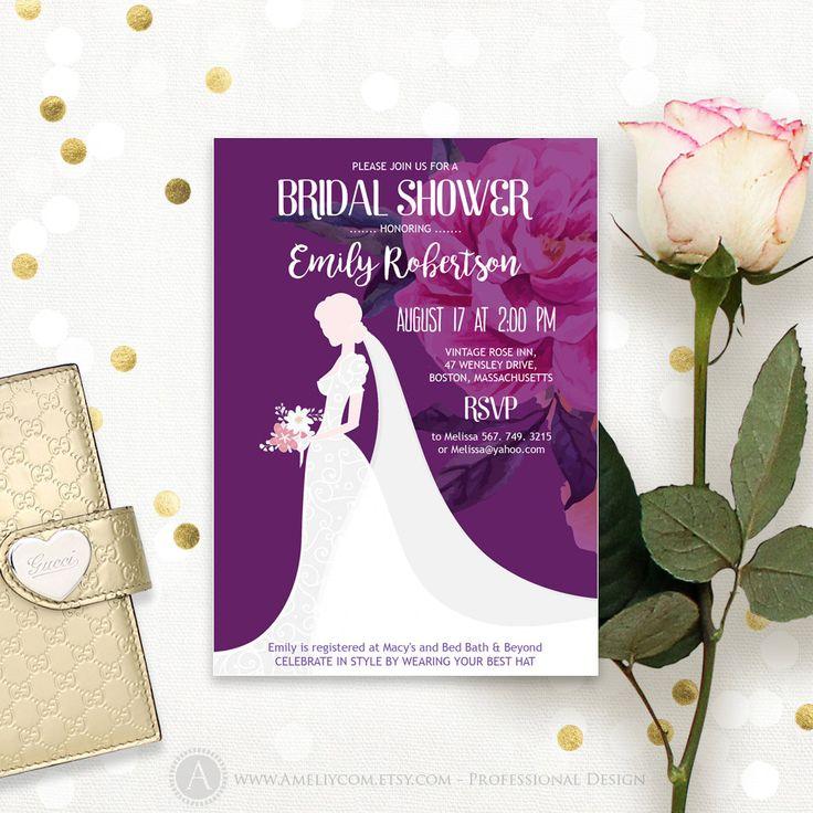 Purple Dress Bridal Shower Invitation Printable Digital PDF Bridal Brunch invitation, Bridal Tea Party Invite set Editable INSTANT DOWNLOAD