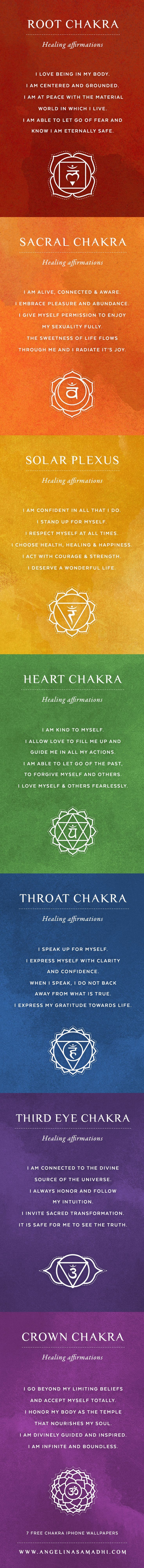 Chakra Affirmation iPhone Wallpapers ॐ Align your chakras through the conscious direction of your thoughts :) Root, Sacral, Solar Plexus, Heart, Throat, Third Eye, Crown #Namaste #Chakras #Affirmations #Om #Symbols