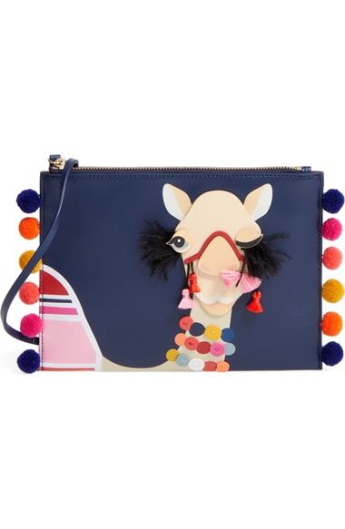 Wink, Wink. This colorful camel adds an extra pinch of flair to this leather wristlet