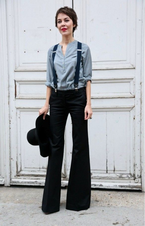 pixie cut, red lips, button down shirt, suspenders & wide-leg pants #style #fashion #streetstyle