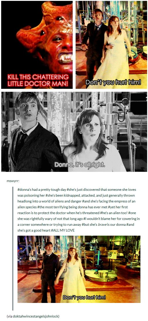 The Runaway Bride [gifset] - Love the way Donna tries to protect the Doctor <<-- Love that about her ♥♥