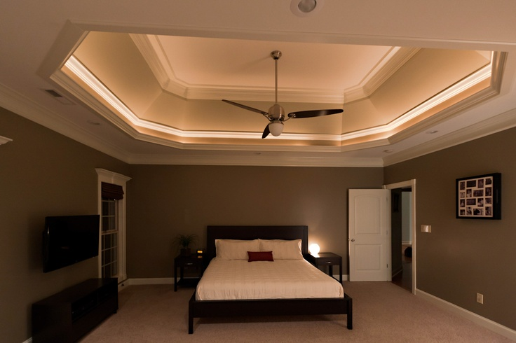 Master Bedroom - Lighted Tray Ceiling, Casablanca Le Grande Ceiling Fan, BoConcept Furniture, Bali Woven Wood Blinds, Wall Color - SW Tavern Taupe, Tray Ceiling Colors - SW Stone Lion & SW Loggia