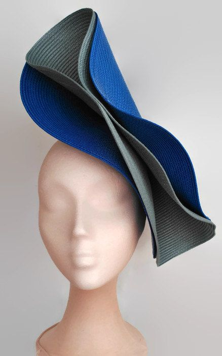 Blue and grey fascinator royal blue wedding hatGray by Tocchic