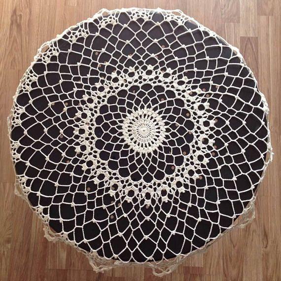 Crochet large doily Milk color Large Doily Table Decoration