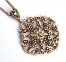Gorgeous Statement Piece - Venetian Sybella Pendant. 18RG & Black Rhodium Plate   #DiamondsExclusive