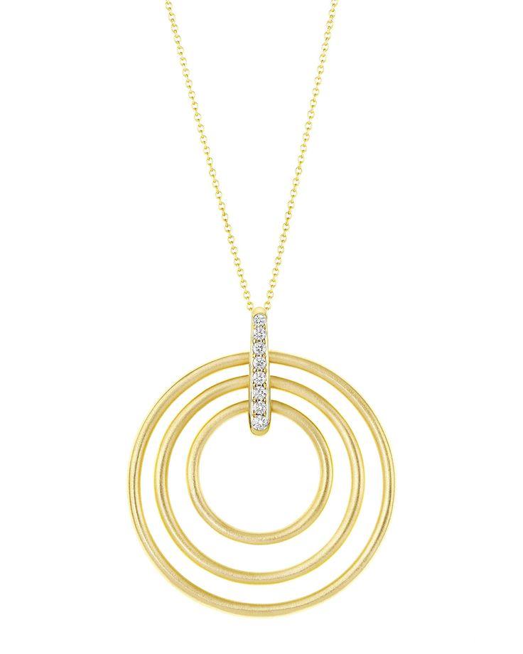 Carelle Moderne 18k Diamond Circle Pendant Necklace XmHj6