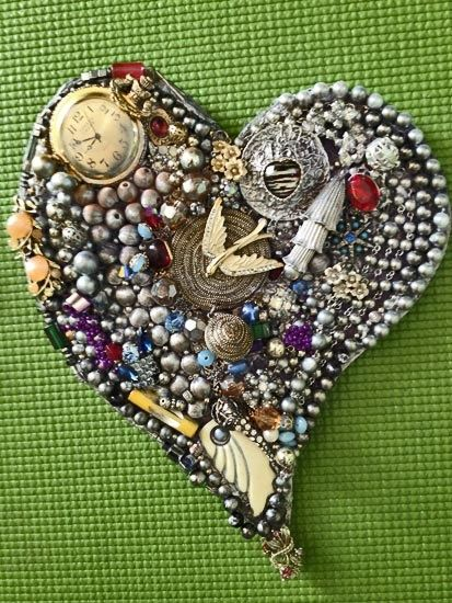 mixed media hearts   ... Vintage Jewelry Mixed Media Mosaic ...   Hearts come in all