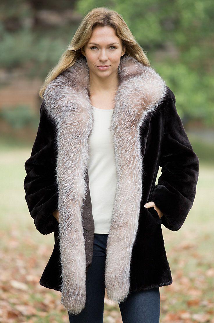 Womens Providence Sheared Beaver Fur Coat With Fox Fur -3948