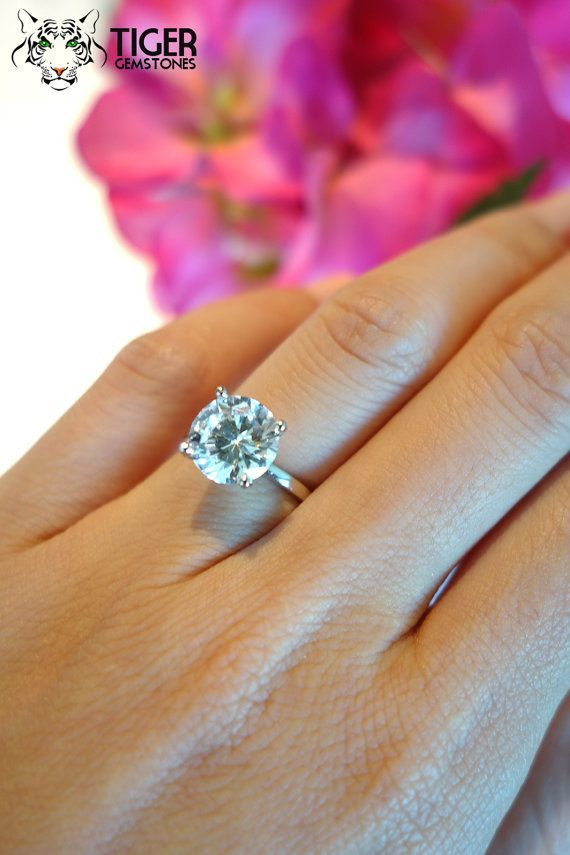 3 Carat Classic Soli 3 Carat Classic Solitaire Engagement Ring, Man Made Diamond Simulant, 4 Prong Wedding Ring, Bridal Ring, Promise Ring, Sterling Silver
