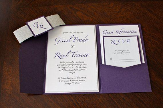 Purple pocket wedding invitation, glitter wedding invitation, purple invitation, pocketfold invitation, grape wedding invitation