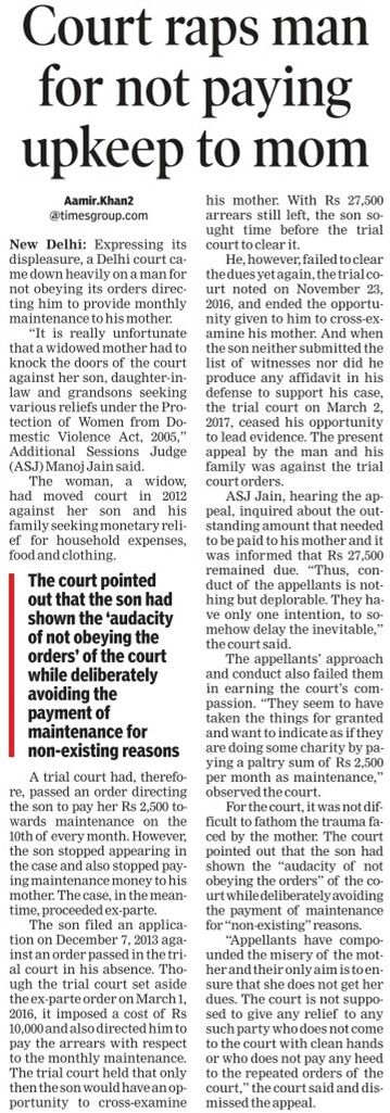 A Delhi court raps a man for not paying maintenance money to his mother.