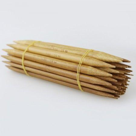 Strømpepindesæt i mørk bambus 2-12mm - 15 str. Strikkepinner
