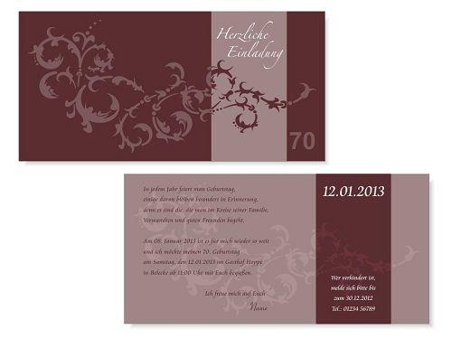 Einladungskarte 70. Geburtstag   Vorder- und Rückseite